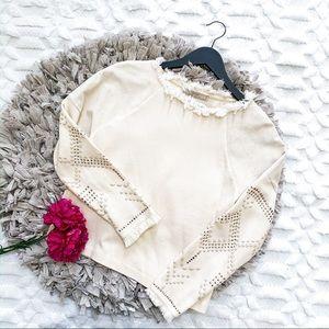 Zara Ivory Fringe Studded Sleeve Sweater